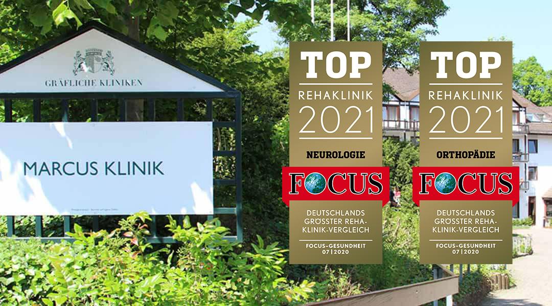 Marcus Klinik Eingangsschild mit Top Rehaklinik Auszeichnungen